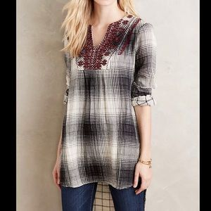 Anthropologie embroidered flannel tunic
